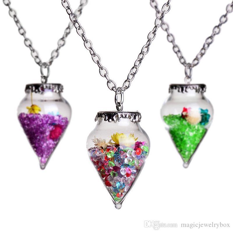 Original New Driften Flasche Anhänger Kristall Halskette für Frauen Art und Weise natürliche trockene Blume Kristall Halskette Mädchen Hochzeit Geschenk