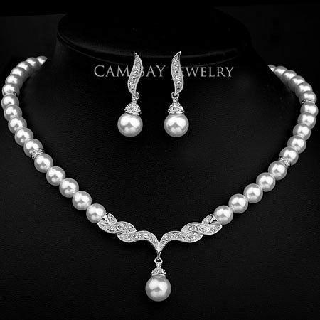 Nuova eleganza ceco strass e perla simulata moda donna partito collana orecchino di perla set / nuziale orecchini gioielli da sposa set