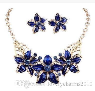 Shining Elegant Wedding Bridal Jewelry Prom Enamal Rhinestone Crystal Flower Birdal Jewelry New Bling necklace and earring set Christmas