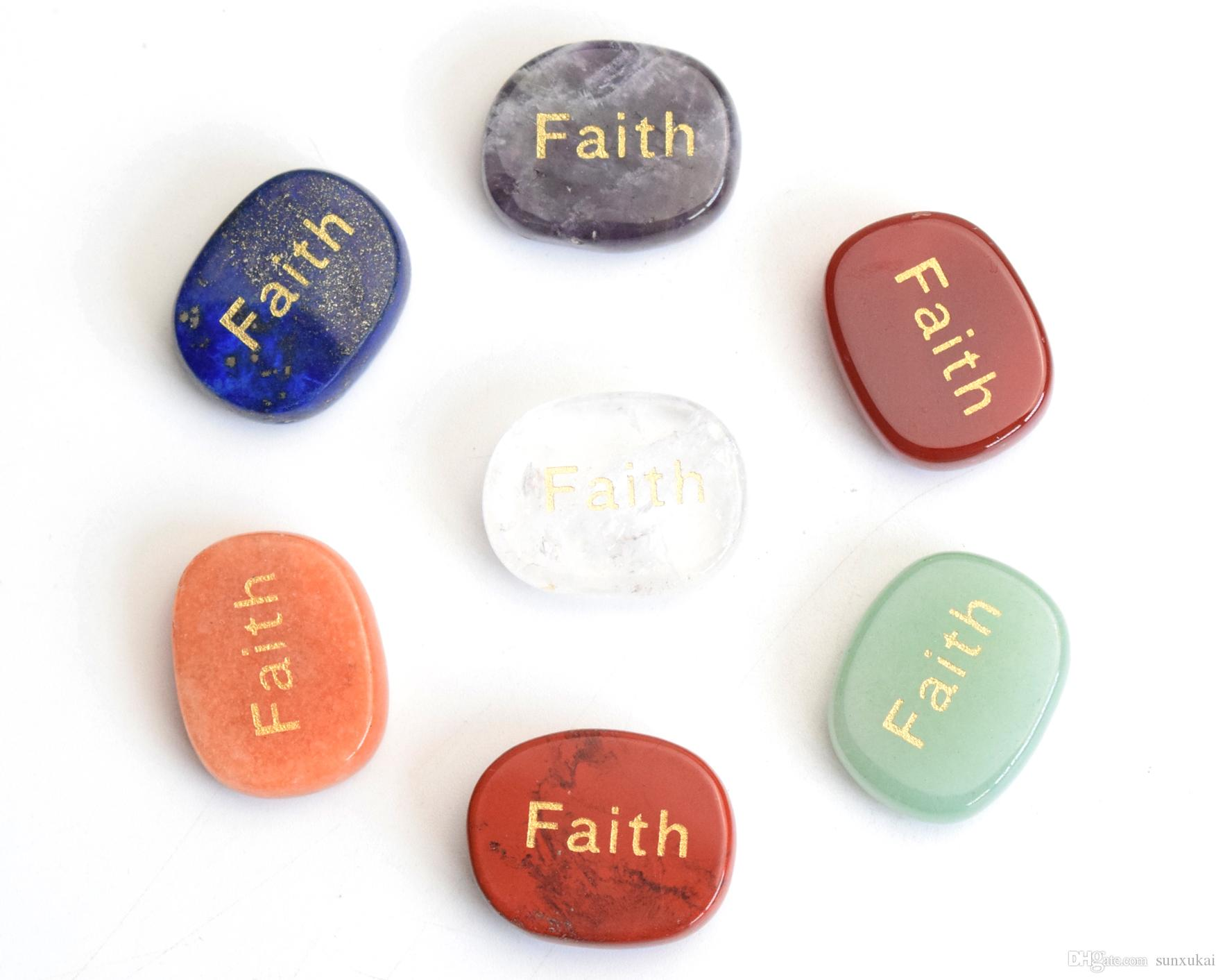 7 sztuk Naturalne czakry Kamienie wygrawerowane wiarę pozytywnych kamieni palmowych z wolnym torebką