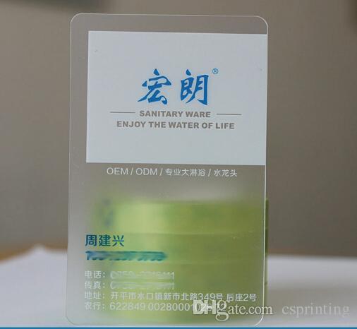 Custom transparent PVC plastic cards cmyk offset printing matt finish clear business cards
