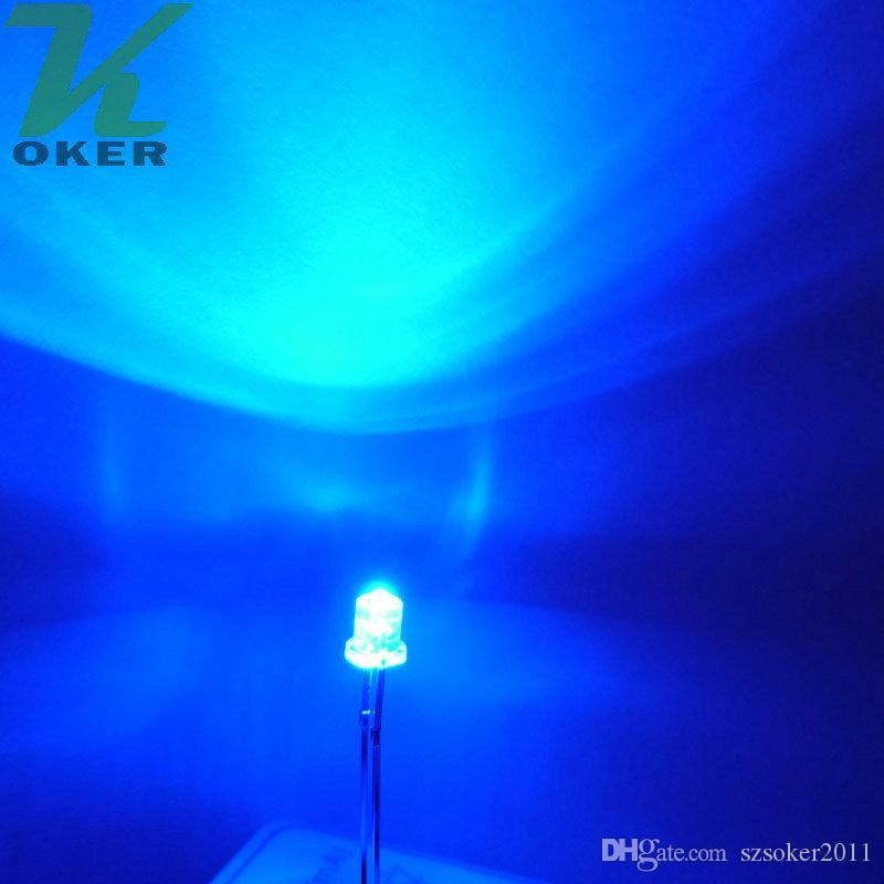1000 pz 3mm 3mm Blu Top Flat Water Clear LED Light Light Light Emitting Diodo Ultra Bright Branzy Plug-in Kit fai da te Pratica Pratica grandangolare