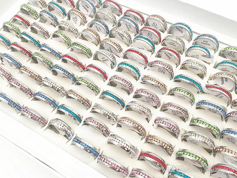 Hot 20 SZTUK / PACK Assorted 6mm Jednorzędowy Pierścionek z biżuterią Ze Stali Nierdzewnej Ze Stali Nierdzewnej Dla Mężczyzna Obrączki Ślubne