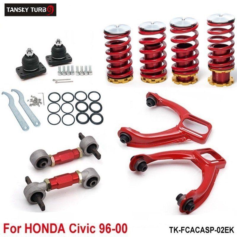 Tansky - bracci di controllo inferiore posteriore + kit di cameriere anteriori + abbassamento delle molle bobina rossa (adatti per Honda Civic) TK-FCACASP-02EK