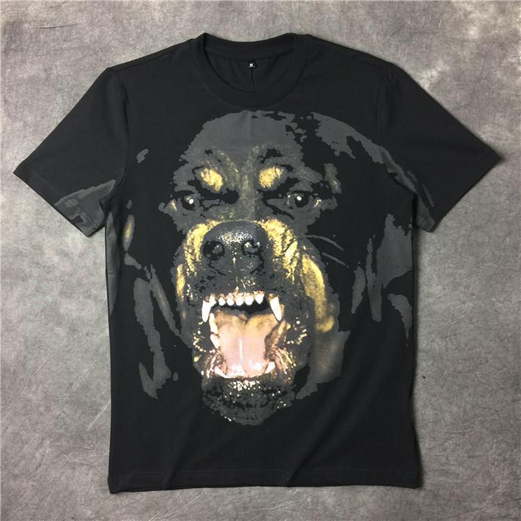 الرجال أزياء تي شيرت 2016 الصيف ماركة الملابس السوداء الكلب قصيرة الأكمام تي شيرت قميص الرجال أعلى القطن قميص عارضة جودة عالية