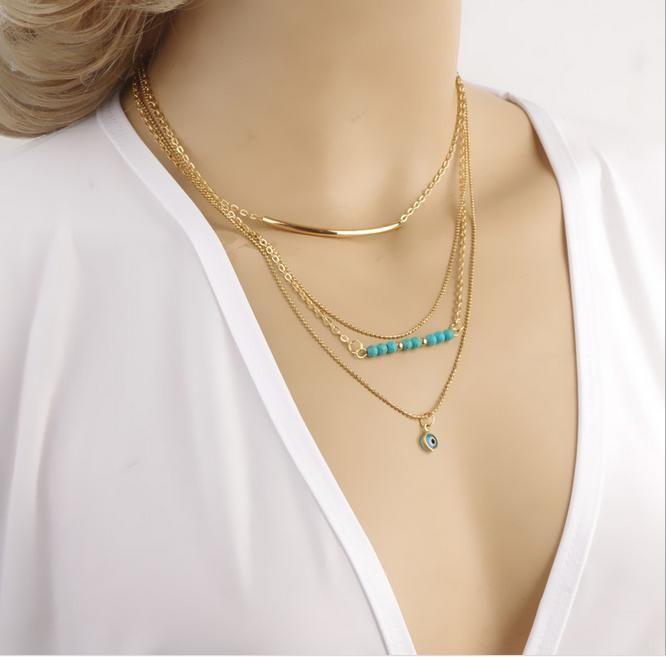 Bohemian-Halskette-mehrschichtiger Gold-Farben-Glasur-Türkis-Korn-Metall-Schlauch Blick-lange hängende Halskette für Frauen Layered Halskette