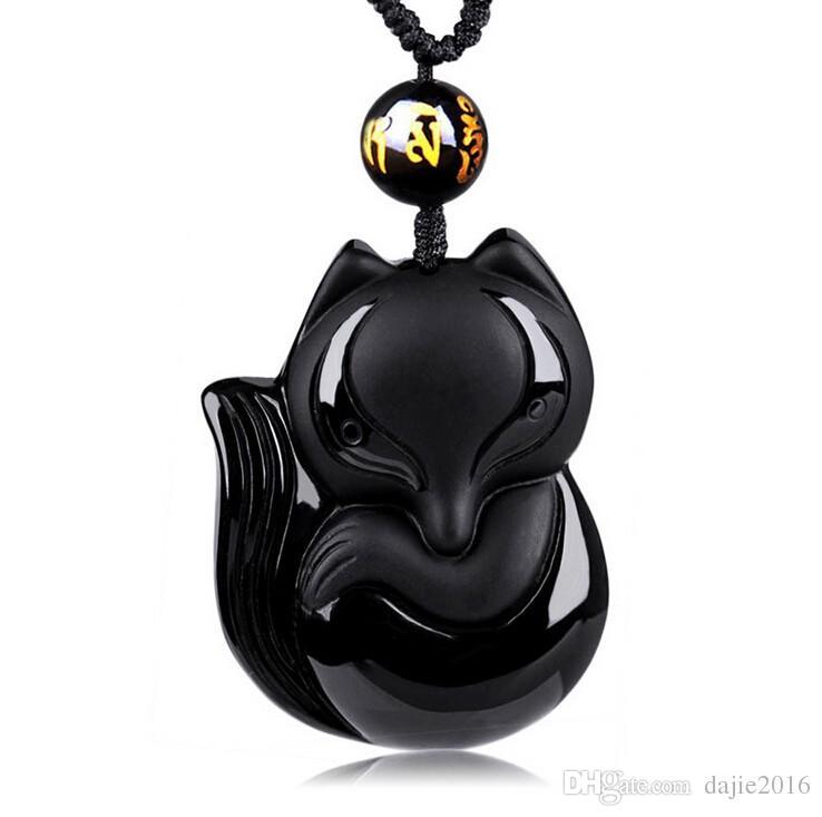 DJ ювелирные изделия очаровательный китайский ручной работы черный обсидиан ручной резьбой Lucky Fox Амулет кулон ожерелье женщина мужские ювелирные изделия