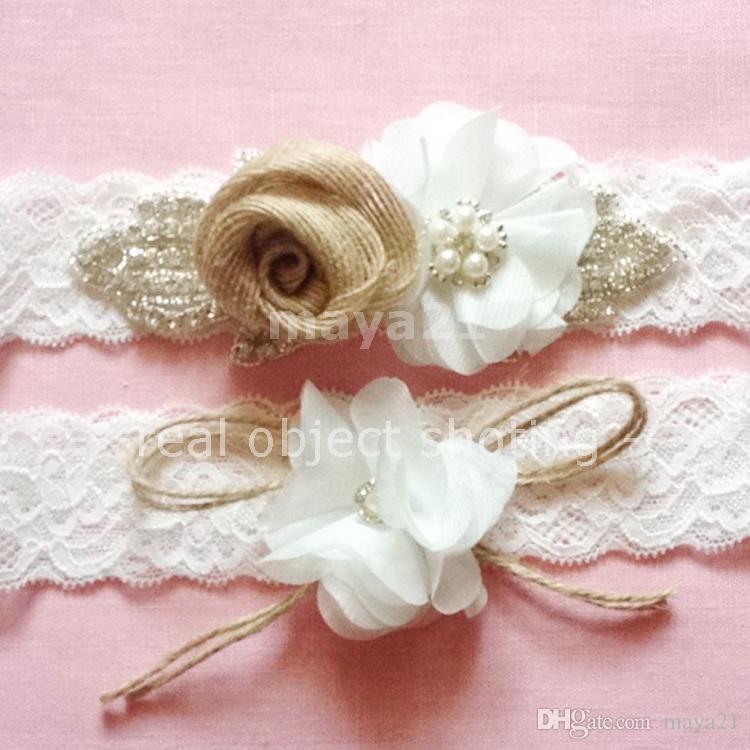 Set Of Two Rustic Bridal Wedding Garter Burlap And Beaded Crystal