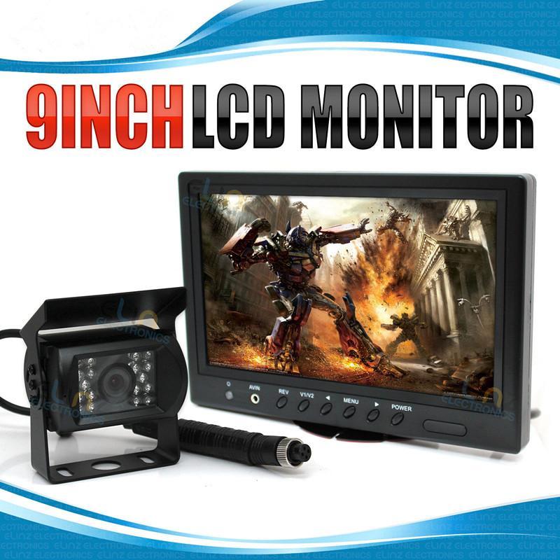 """9 """"monitor HD 12V / 24V 4PIN do carro que inverte o caminhão do Mic da câmera do CCD do Rearview"""