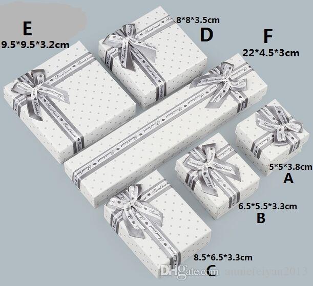 مجموعات كاملة 6PCS رمادي نقطة مجوهرات / مجموعات مجوهرات قلادة أساور أقراط الطوق الهدايا التعبئة والتغليف حزمة عرض عرض صندوق القضية