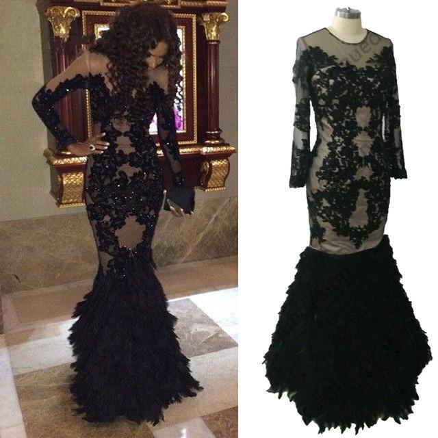 Robes de bal africaines africaines avec plumes manches longues en dentelle robe de soirée robe de soirée formelle 2019 fille noire