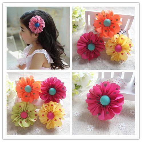 30pcs / lot couleurs mélangées enfants de mode de haute qualité Accessoires cheveux bébé enfants filles clips cheveux fleurs en mousseline de soie épingles à cheveux