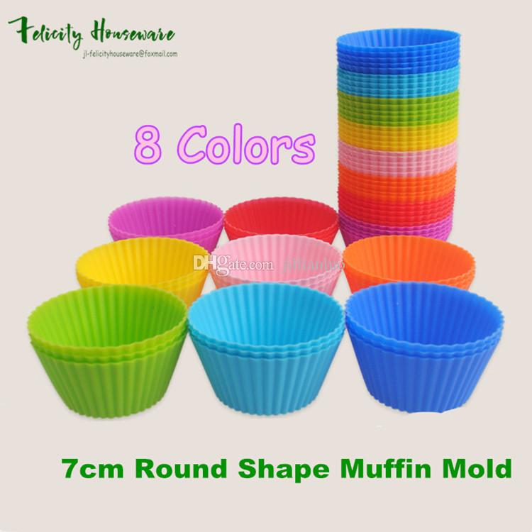 Hot Sale~7cm Round Shape Silicone Muffin Mold Cupcake Mold Bakeware Maker Mold Tray Baking Cup Liner Baking Molds