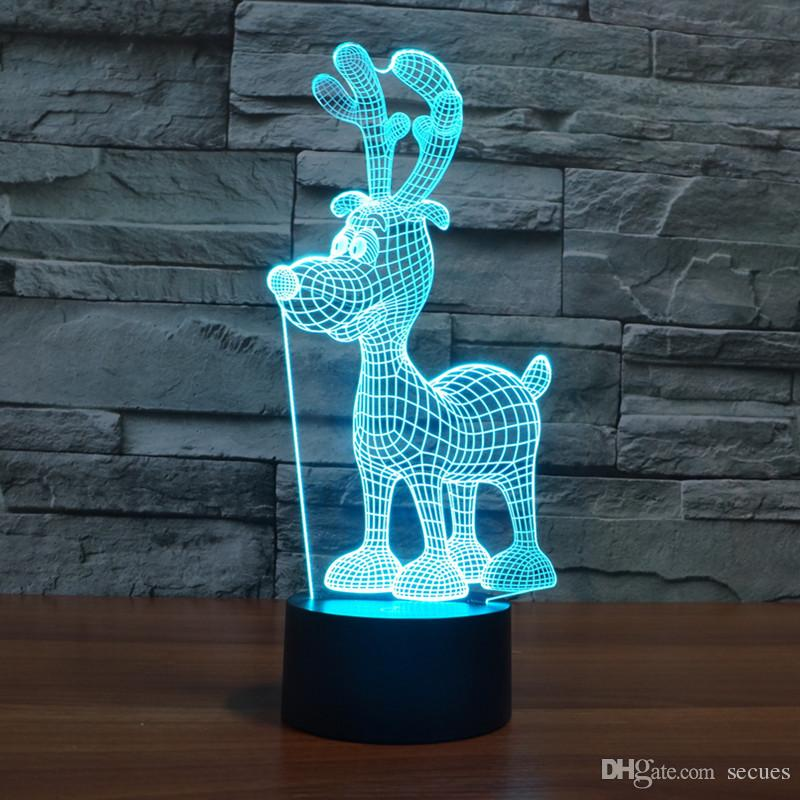 Nouveau design noël cerf lampe optique 3D Night Light 9 LED Night Light DC 5V coloré lampe 3D