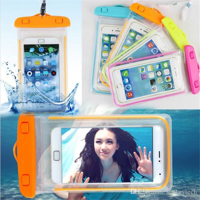 10PCS Clear Waterproof Pouch Dry Case Cover For Camera Mobile phone Luminous Waterproof Bags for IPHONE 4 4S 5 5S 6 6S PLUS