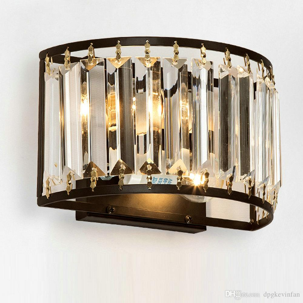 Modern Crystal Wall Lamp Luxury Wall Light Top Lighting 2 Light Crystall Sconce for Bedside Porch Hallway with E14 Socket