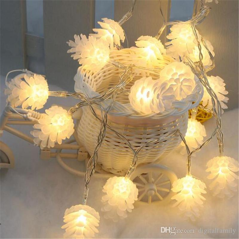 5M/20leds Colorful Modeling LED String Pinecone Flashing Christmas Lights Garlands for Holiday Party Wedding Decoration