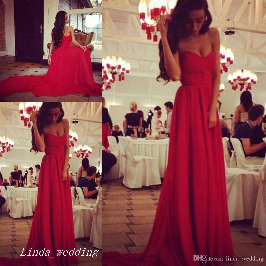 quite nice temperament shoes factory outlets Beautiful Long Flowy Red Prom Dress Good Quality Sweetheart ...