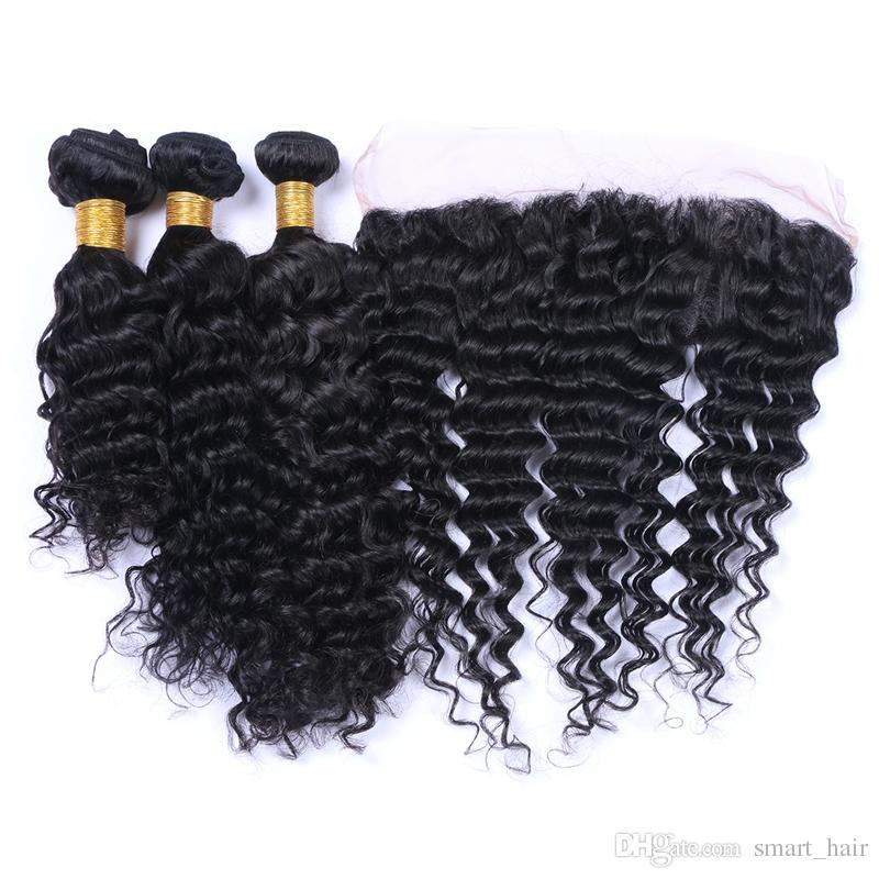 Frontales de encaje completo de onda profunda con paquetes de cabello 4pcs / lote brasileño cabello virginal teje con oreja a frente de encaje frontales para mujer negra