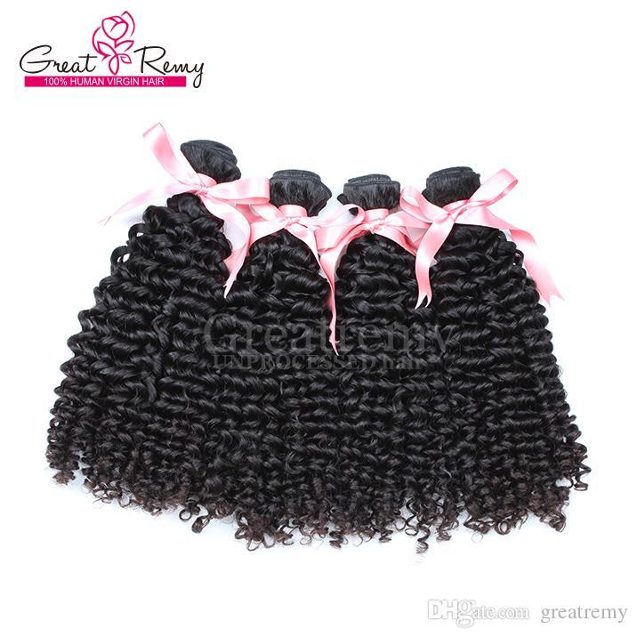 Greatremy® 4PCS / Parti 8A Curly Wave 100% peruanskt mänskligt hår väv dubbla väftförlängningar 8 ~ 30 naturlig färgfärgbar