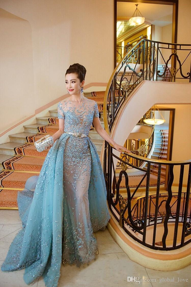 2017 Hi Q Elie Saab Evening Dresses Illusion Sheer Skirts Sky Blue ...