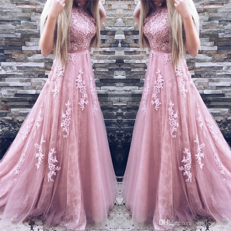 Compre Vestidos De Noche De Encaje Rosa Baratos 2017 Vestidos De ...