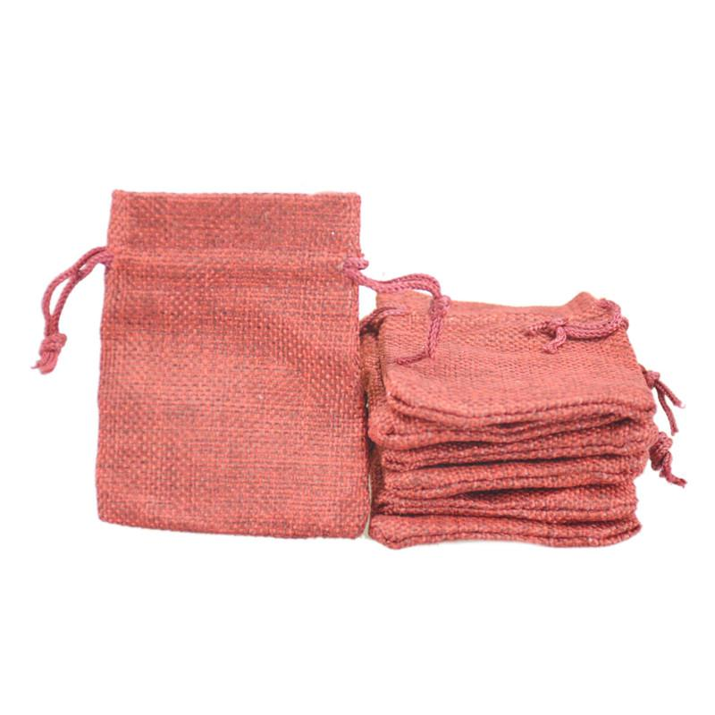 7x9cm Hessian bag for sale Faux Jute Drawstring Jewelry Bags Candy Beads Small Pouches Burlap Blank Linen Fabric Gift packaging bags Burgund
