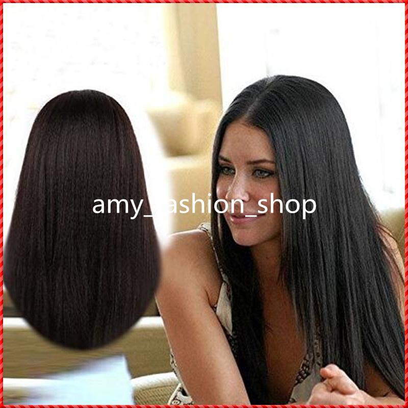 100% virgin brazilian human hair long YAKI stright full lace wig, glueless full lace 100% human hair wig