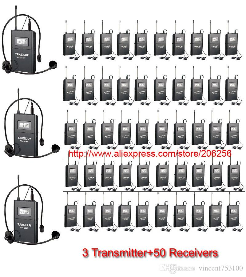 Nuevo sistema de audio inalámbrico UHF Takstar WTG-500 / WTG 500 para reuniones de la Iglesia Guía turística Enseñanza (3 transmisor + 50 receptores)