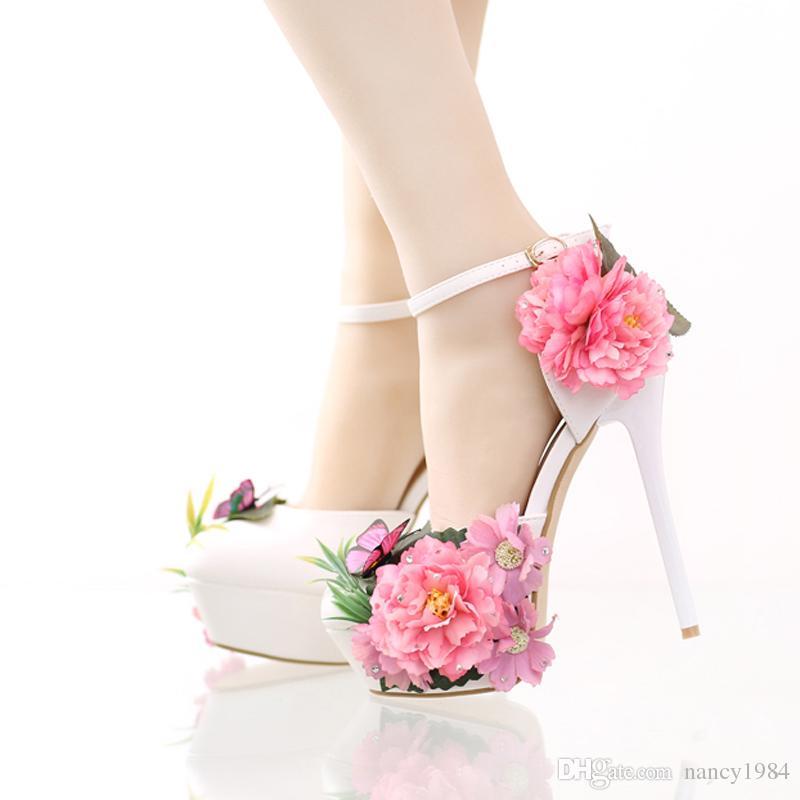 2019 Fashion Flower Bridal Dress Shoes Platform Formal Dress Shoes with Ankle Straps New Designer Party Prom Pumps Super High Heels