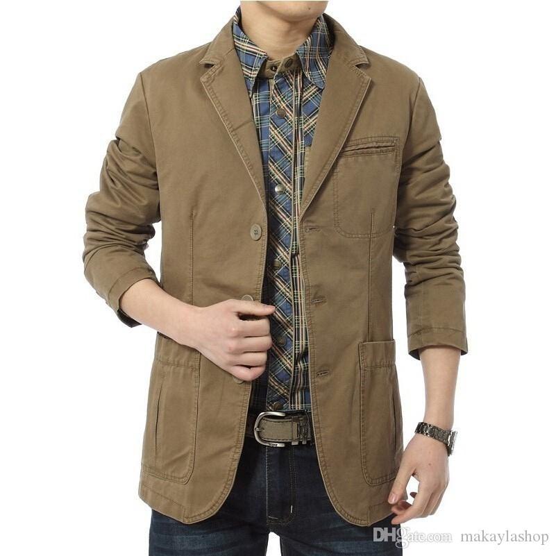 Blazer uomo casual Blazer in cotone Cotton Parka Giacche slim fit da uomo Army Green Khaki Plus Size