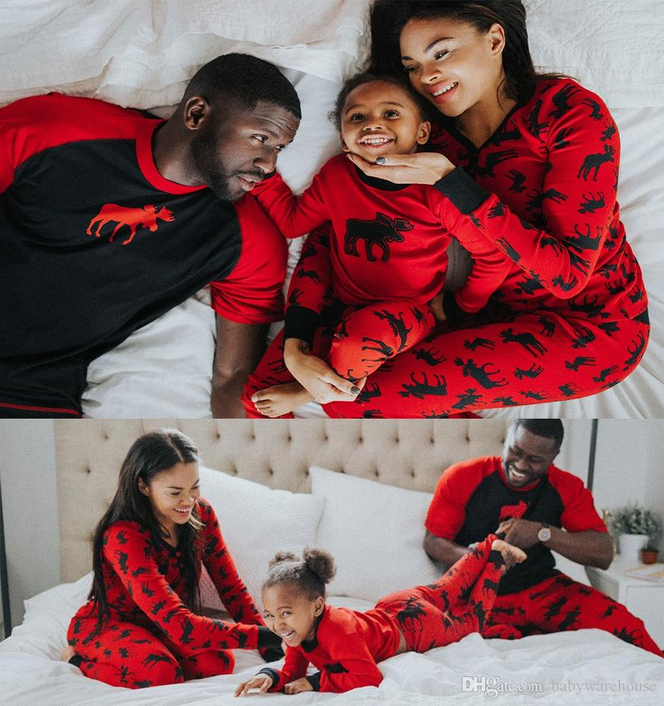Matching Family Christmas Outfits.Family Christmas Pajamas Matching Family Pajamas Father Mother Daughter Son Matching Outfits Women Men Kids Elk Printing Family Clothes Set Mom And