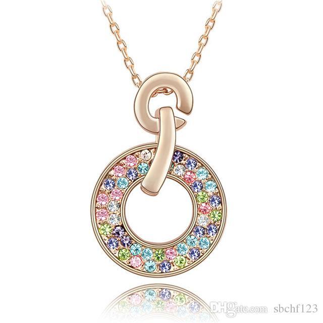 Bruids ketting met strass Crystal kettingen hanger mode-sieraden maken met Swarovski elementen 18K rose vergulde 2881