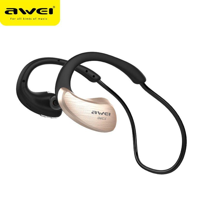 원래 AWEI A885BL 방수 무선 블루투스 넥 밴드 헤드셋 NFC HIFI V4.0 이어폰 이어폰 iPhone 7 스마트 폰용 마이크가있는 이어폰