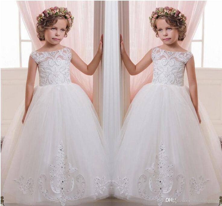 2019 appliques perles pure cou tulle robes de fille de fleur Vintage Child Pageant robes robe de communion Sainte robes de mariée fille