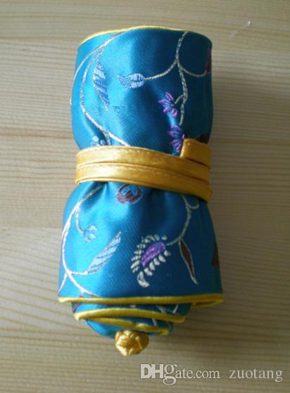 Raffinatezza broccato di seta gioielli Roll Up Bag di viaggio in stile cinese Multi sacchetto dell'anello di stile per il regalo di compleanno 5pcs / lot