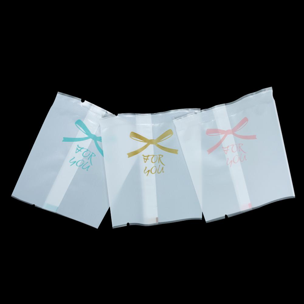 400Pcs Matte Clear White Open Top Plastic Food Packing Bag Heat Seal Dried Fruits Gift Cookies Package Pouch Bowknot Printed