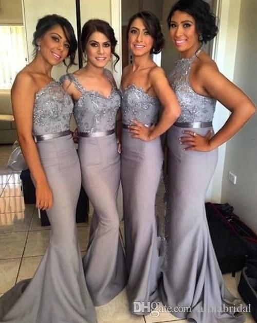 Silver Grey Mermaid Long Bridesmaid Klänningar med Applique Lace Ribbon One-Shoulder Vestidos Lady Wear Wedding Formal Party Gowns 2016
