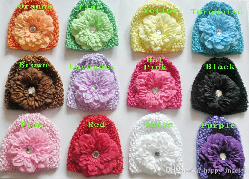 20pcs Baby Waffel Kappen Häkelarbeithüte Haarblumenclips Mütze mit Lilie Pfingstrose Blume Daisy Mädchen Kleinkind dehnbar Kappen MZ9111