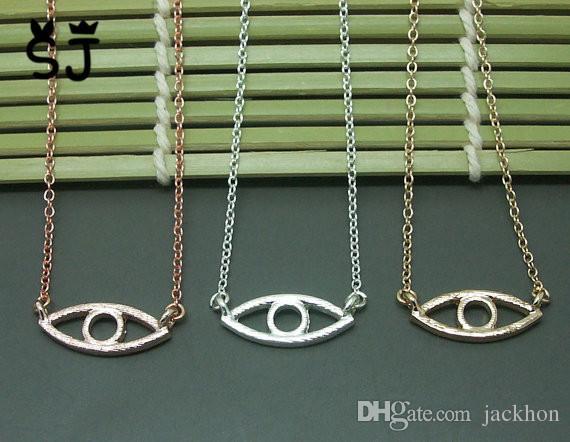10шт-N051 золото серебро Хамса рука сглаза ожерелье Открытая линия Дьявол глаз ожерелья простой повезло турецкий глаз ожерелье