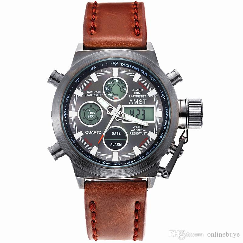 Watches Men Luxury AMST Brand Unique Vogue Dive Swimming Digital LED Quartz Outdoor Sports Military Watch Relogio Masculino Wristwatches