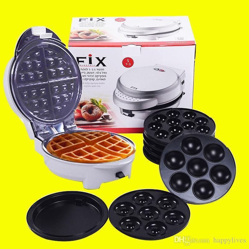 Waffle Makers Belgian Waffle Maker Acero inoxidable Comprar One Get 5 regalos Moulders 220V 110V Huevo Waffle Maker Machine Huevo Doble Waffle Makers