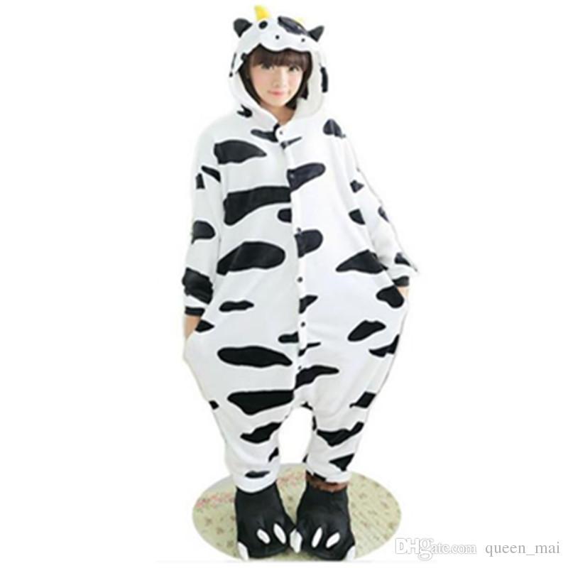 Furry Fleece Sleepsuit Cow Tutsuit Animali Animali Milk Onesie Latte lattiero-caseario Bella mucca Pigiama Cosplay Cosplay Adulto Adulto Cartoon Onesies ONE