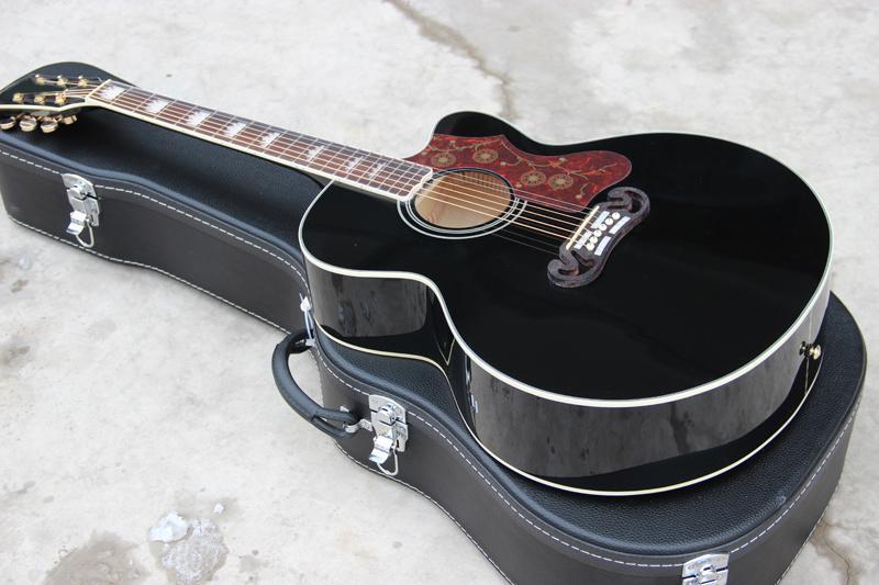 Toptan el işi gitar, classica 43 inç ahşap renk 6 dize BK renk ile özel jumbo tarzı akustik gitar, Ücretsiz kargo