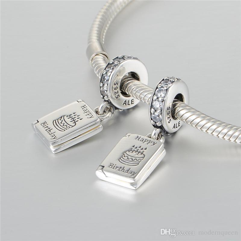 5 pçs / lote desejo de aniversário encantos de prata esterlina 925 se encaixa pulseiras estilo pandora 791723CZ H9