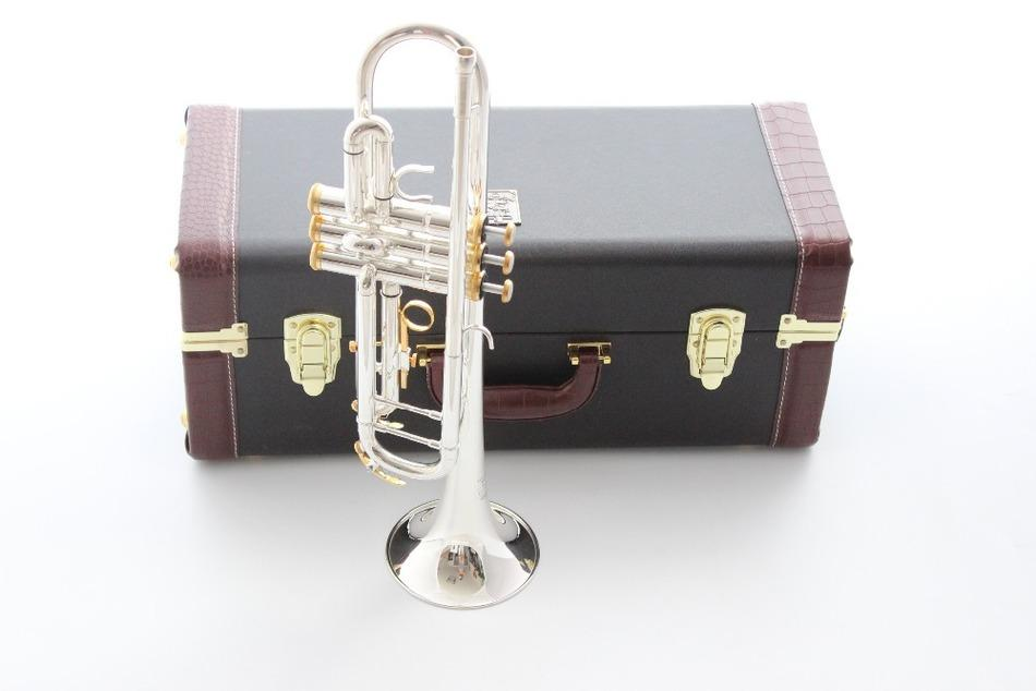 Taiwan Bach Double silver-plated Gold key LT180S37GS Bb trumpet HARD LEATHER case Top musical instruments Brass bugle