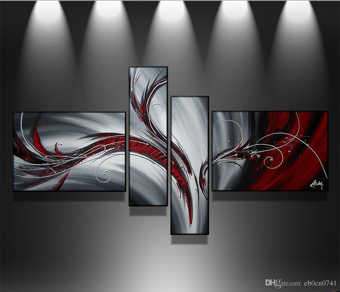 Handgemalte Kunstwand der hochwertigen Ölmalerei 100% Feder abstrakte Kunstdekoration Moderne abstrakte Malerei 4 PC / Satz