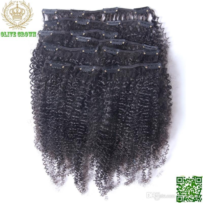 Клип Afro Kinky завитого бразильского человеческих волос в / на наращивании волос для Полного комплекта головки 200g 9pcs / Set