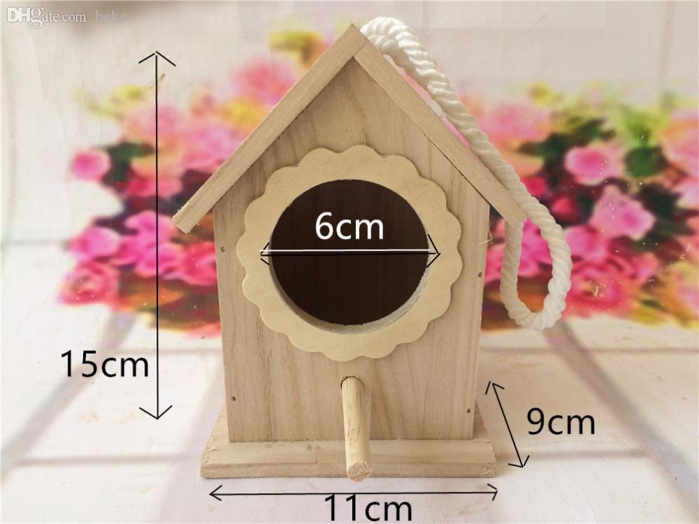 All'ingrosso-11 * 9 * 15cm Legno uccelli nido box allevamento pappagallo Munia cockatiels rondini nido all'aperto tetto casa uccello in legno