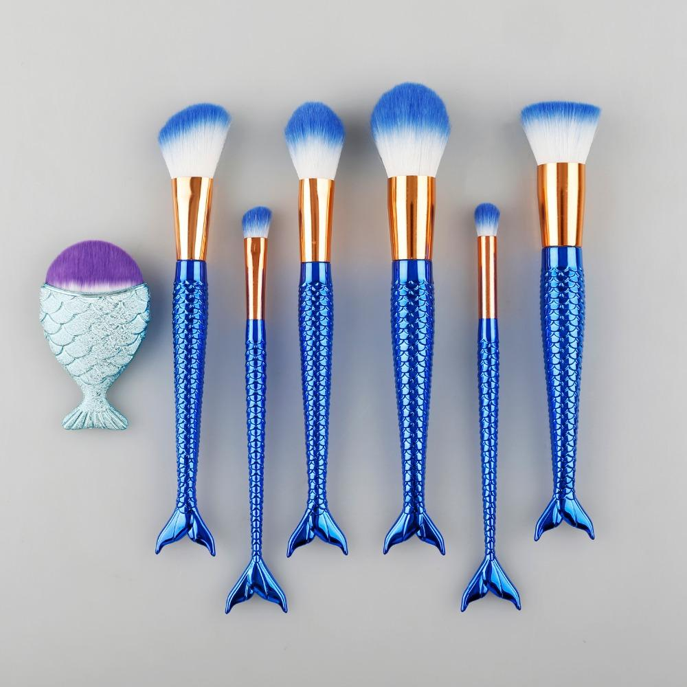 Brand 7pcs Fish Tail Makeup Brush Set Blending Powder Eyeshadow Brushes Foundation Lip Brushes Best Cream Make Up Brush Kit